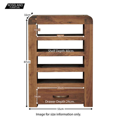 Salem Walnut Entertainment Unit with Drawer - Size Guide