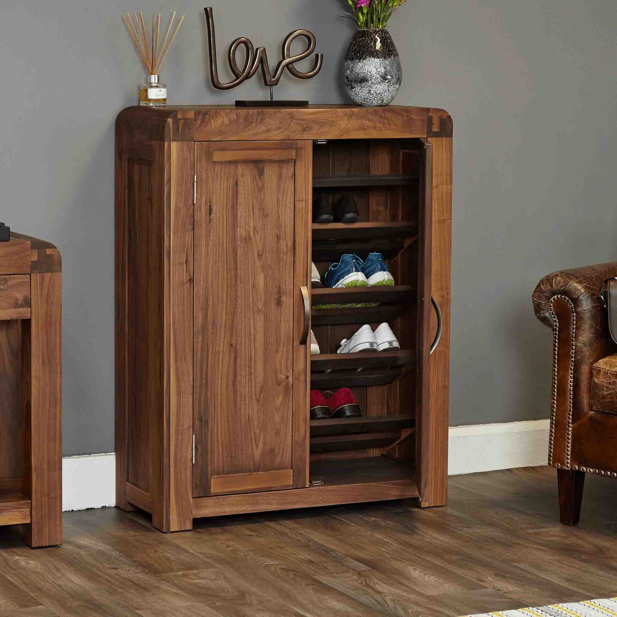 The Salem Walnut Large Wooden Shoe Storage Cupboard from Roseland Furniture