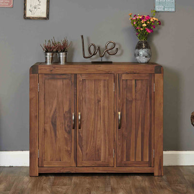 The Salem Walnut Extra Large Wooden Shoe Rack from Roseland Furniture