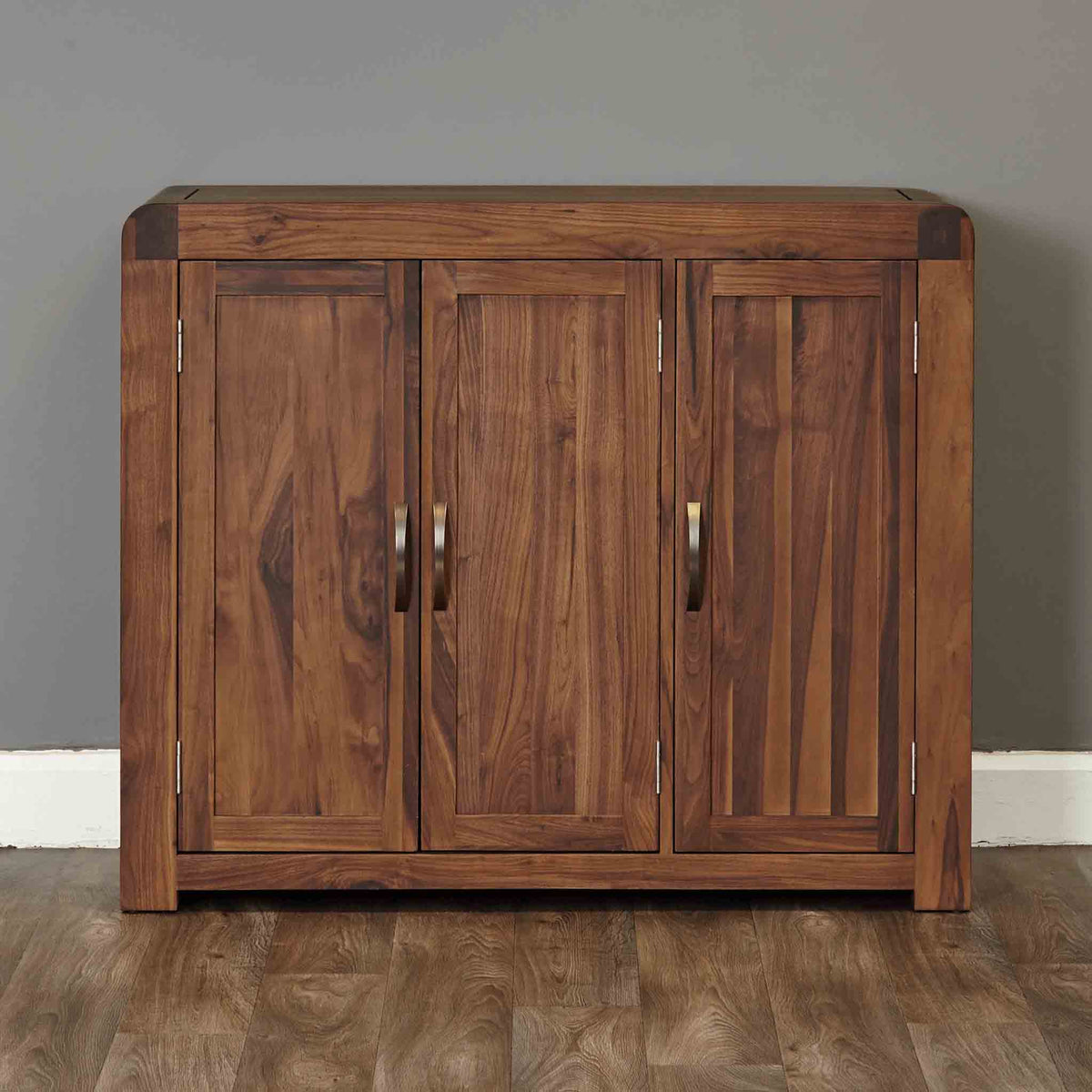 The Salem Walnut Extra Large Wooden Shoe Storage Cabinet with 3 Doors from Roseland Furniture