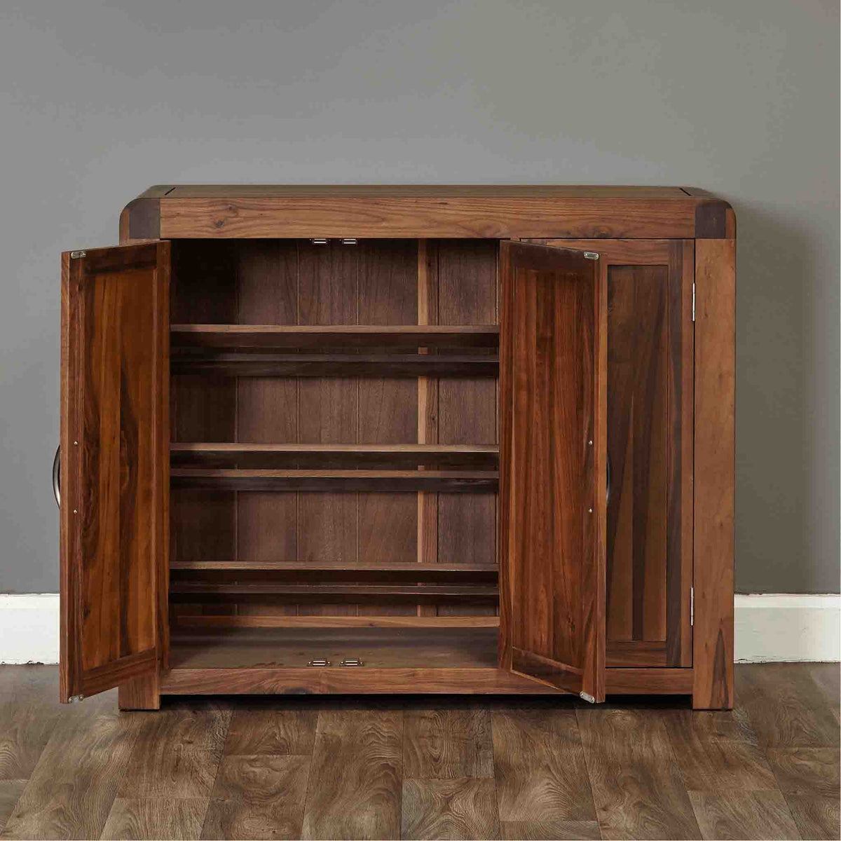 Internal view of The Salem Walnut Extra Large Wooden Shoe Storage Cupboard from Roseland Furniture