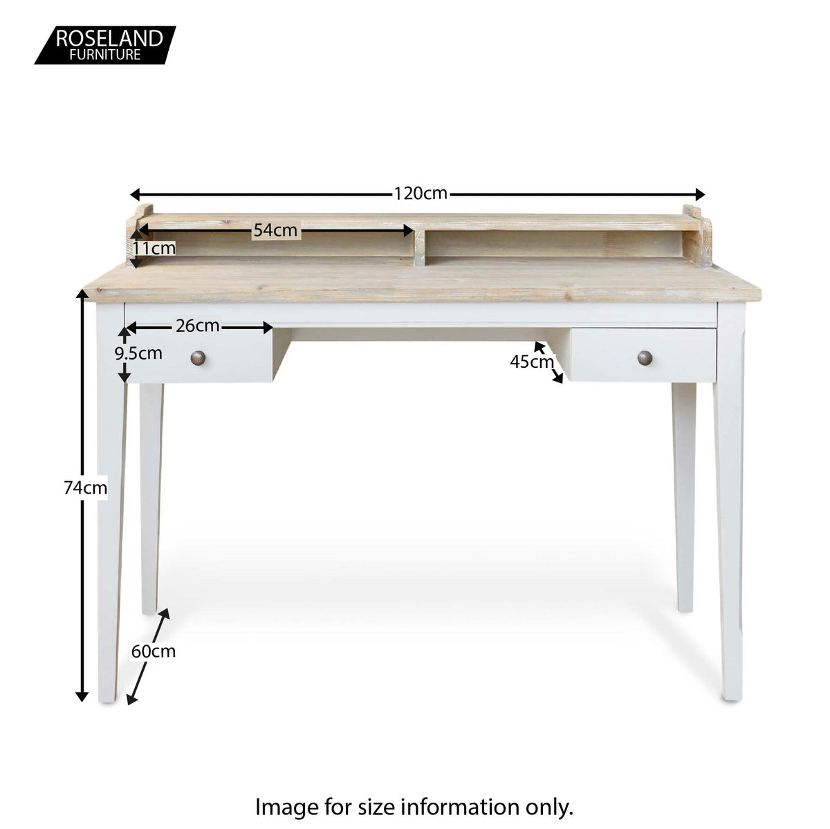 Signature Desk Dressing Table - Size Guide
