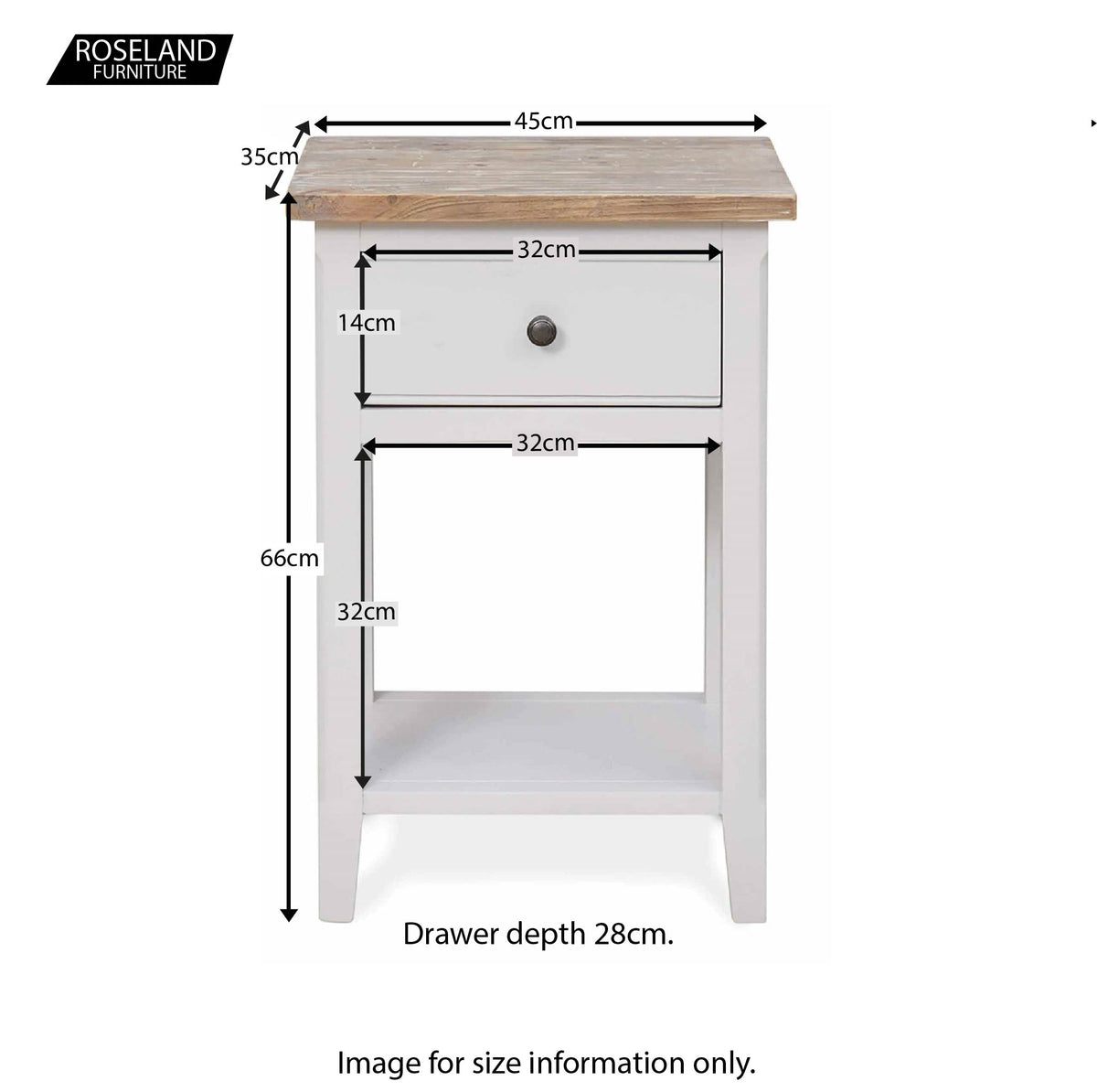 Signature Grey Lamp Table - Size Guide