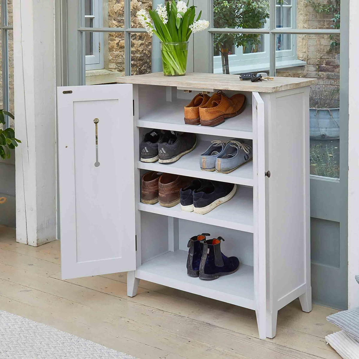 Signature Grey Shoe Storage Cupboard with doors open