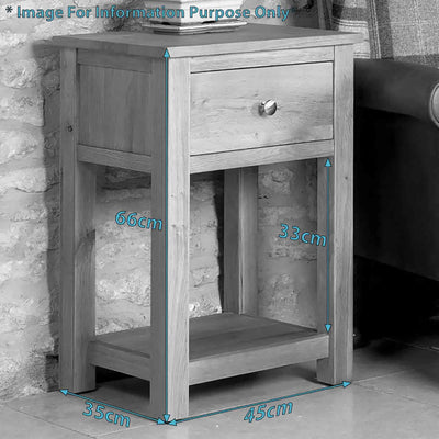 Dimensions - Mobel One Drawer Lamp Table