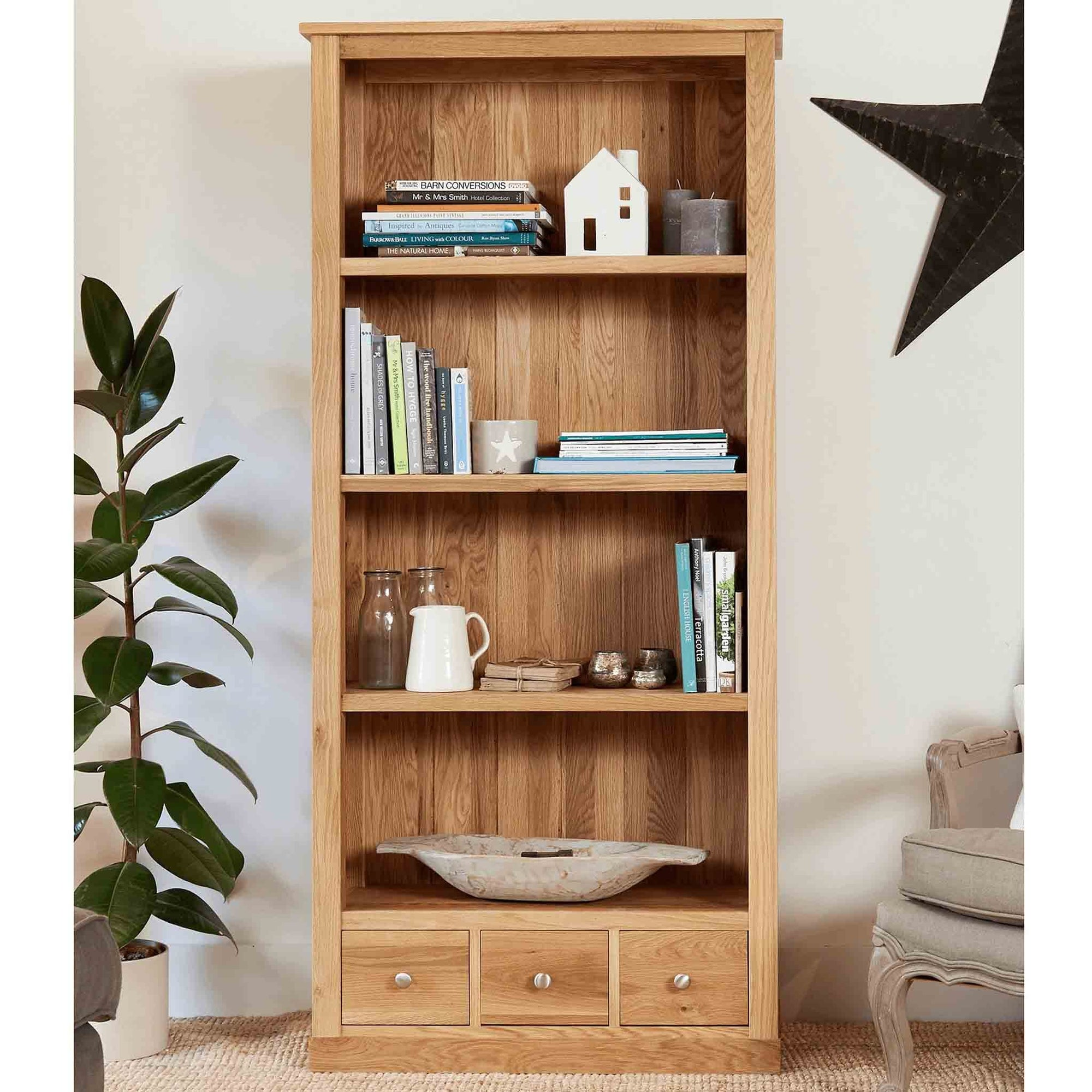 Mobel Oak Large Bookcase by Roseland Furniture
