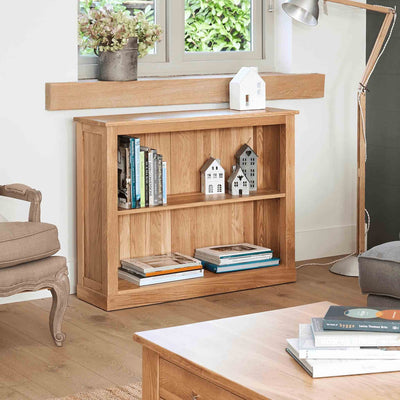 Mobel Oak Low Bookcase by Roseland Furniture