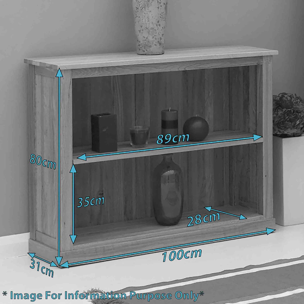Dimensions - Mobel Oak Low Bookcase