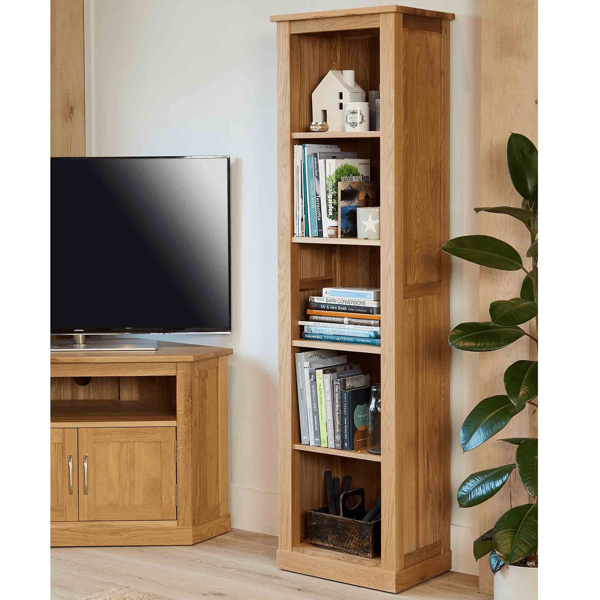 Mobel Oak Narrow Bookcase by Roseland Furniture
