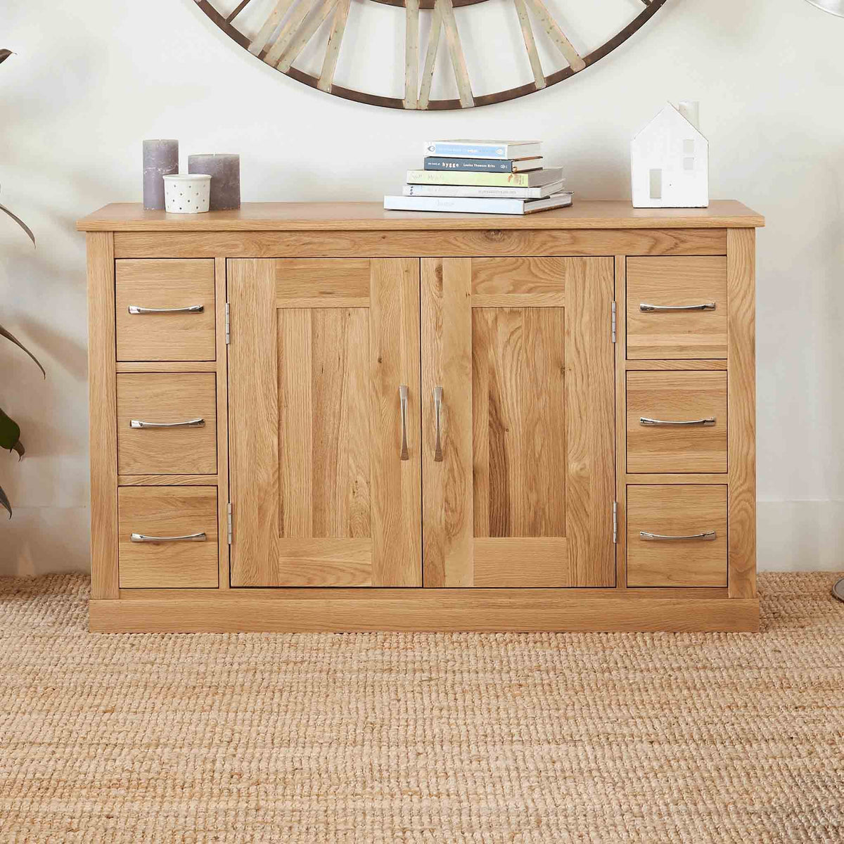 Mobel Oak Large 6 Drawer Sideboard by Roseland Furniture