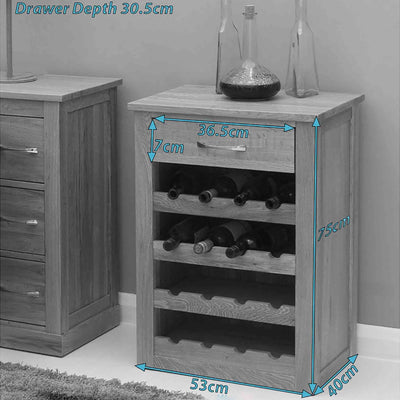 Dimensions - Mobel Oak Wine Rack