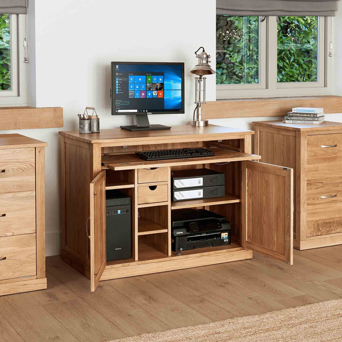 Mobel Oak Hidden Office Desk with doors open