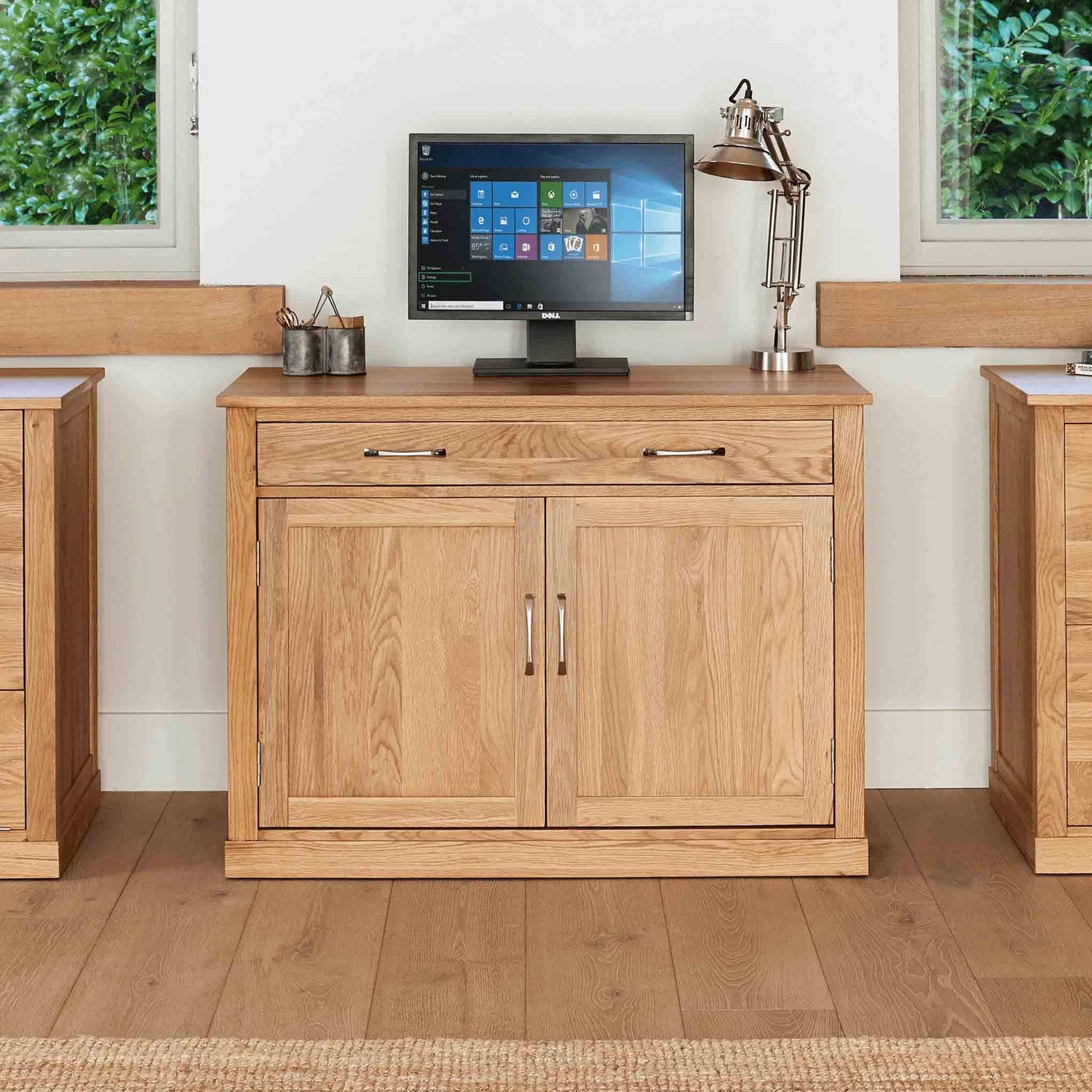 Mobel Oak Hidden Office Desk by Roseland Furniture