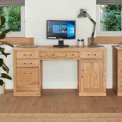 Mobel Oak Twin Desk by Roseland Furniture