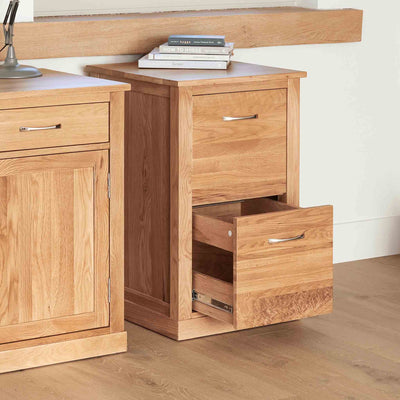 Mobel Oak Filing Cabinet with drawer open