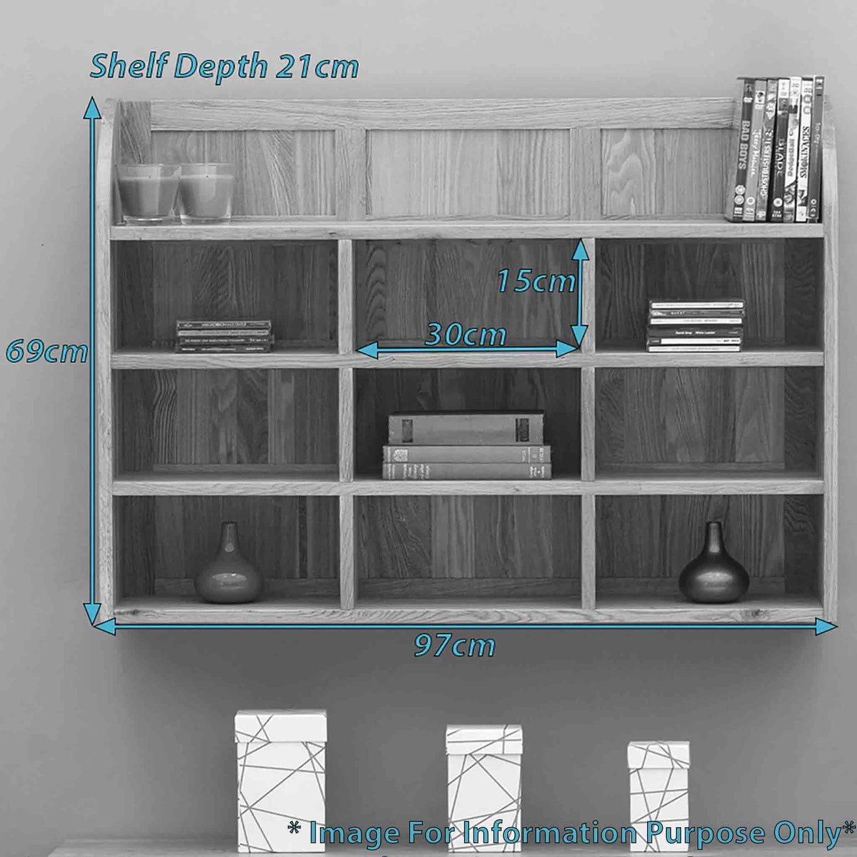 Dimensions - Mobel Oak Wall Rack