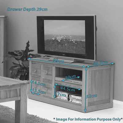 Dimensions - Mobel Oak 99cm TV Stand