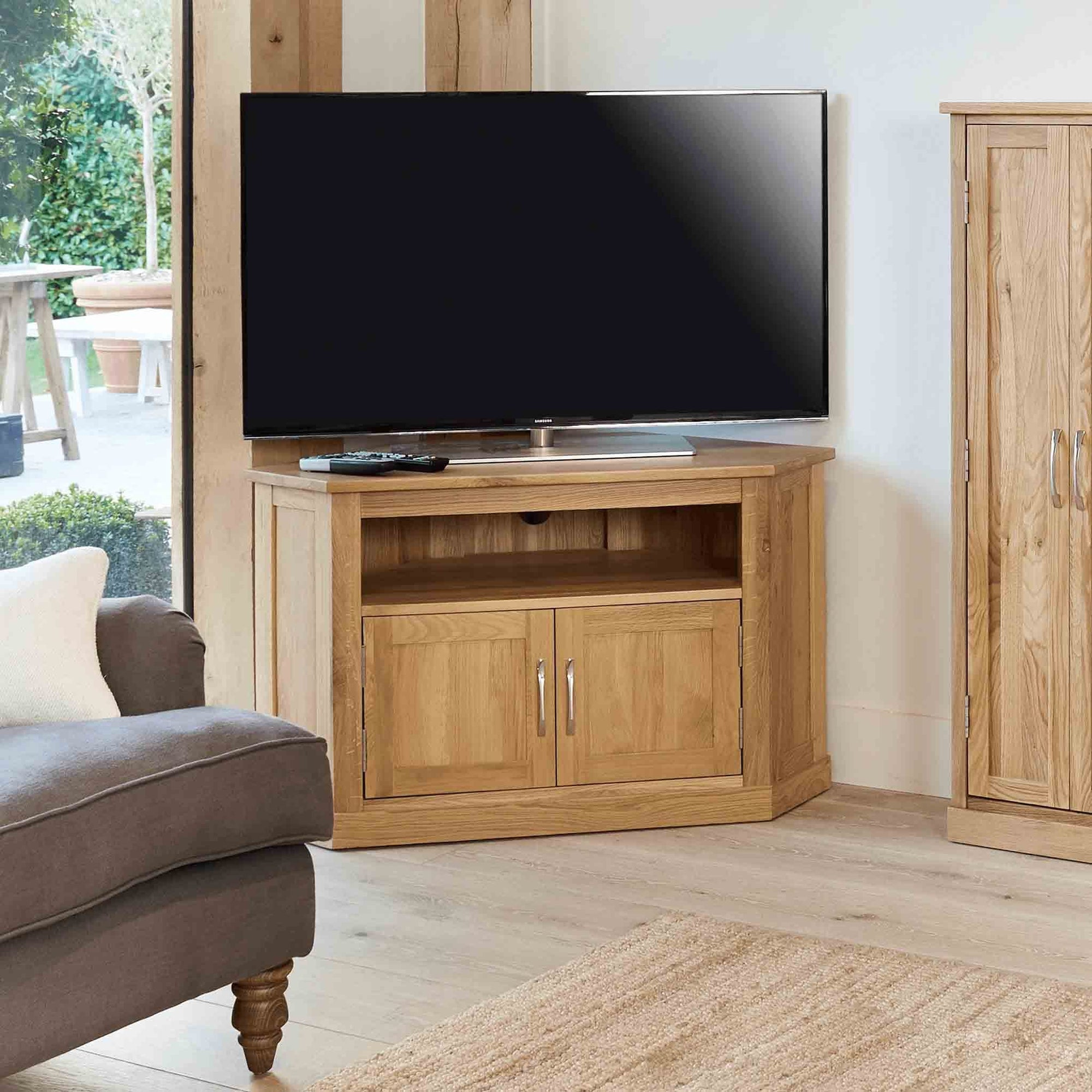 Mobel Oak Corner TV Stand by Roseland Furniture