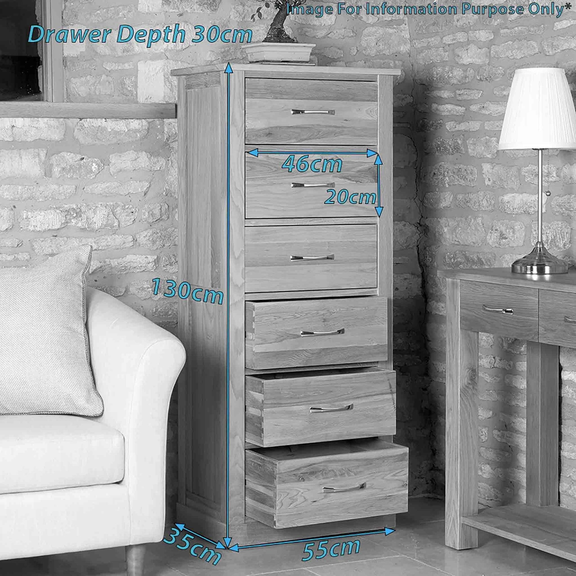 Solid Oak Tallboy With 6 Drawers