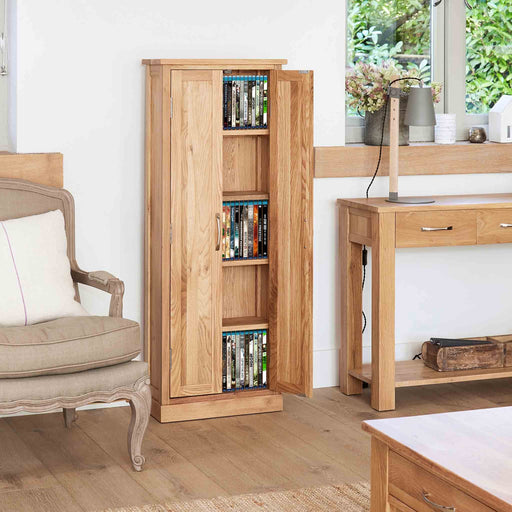 Mobel Oak DVD Cupboard by Roseland Furniture