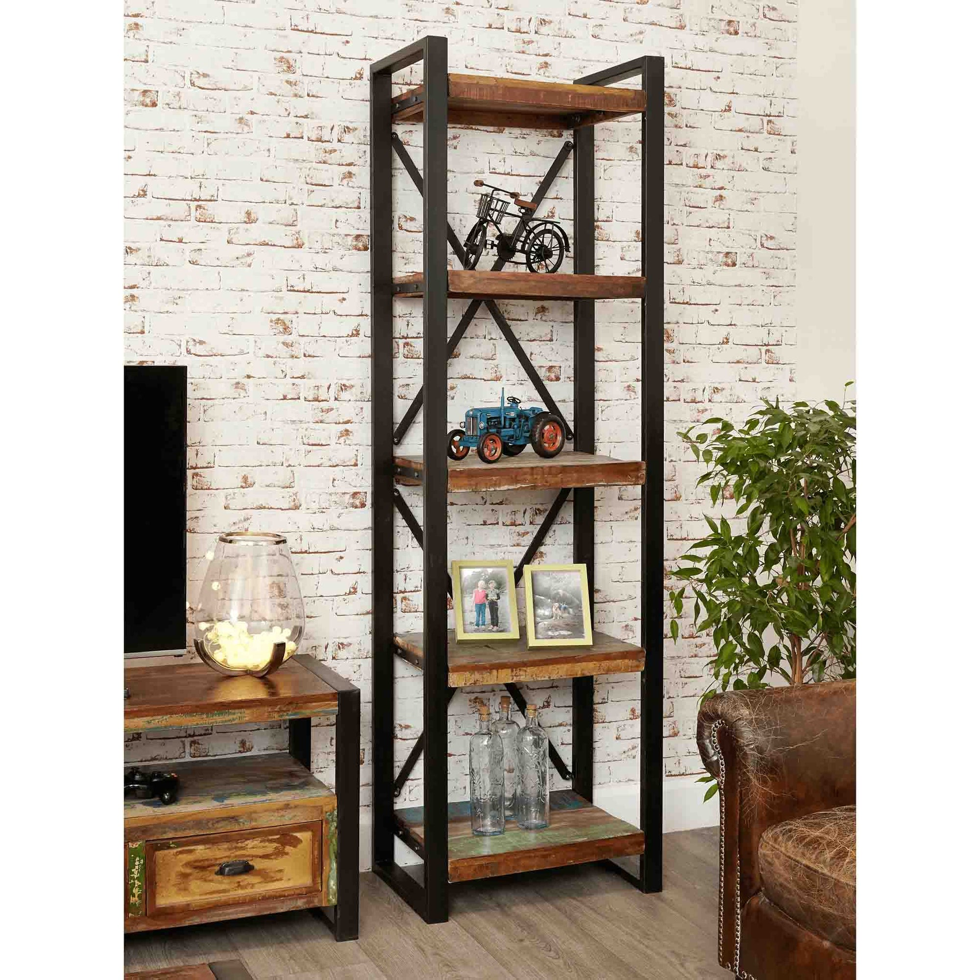 The Urban Chic Tall Industrial Reclaimed Wood Bookcase with 5 Shelves from Roseland Furniture