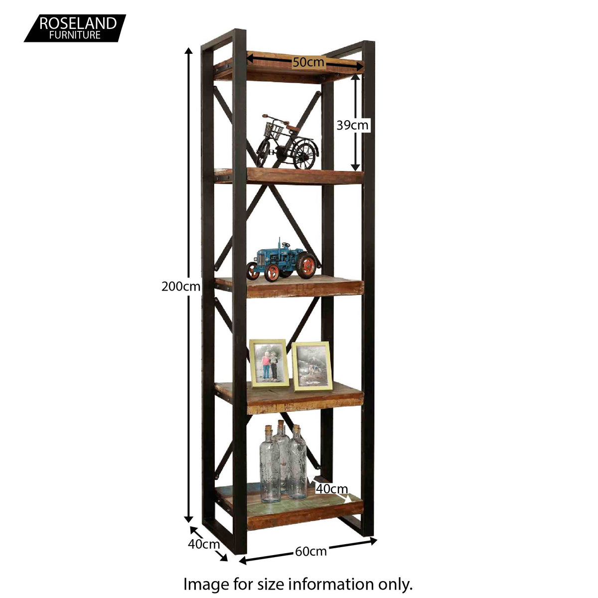 Urban Chic Bookcase - Size Guide