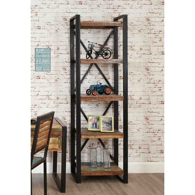 The Urban Chic Narrow Industrial Reclaimed Wood Bookshelf with 5 Shelves from Roseland Furniture