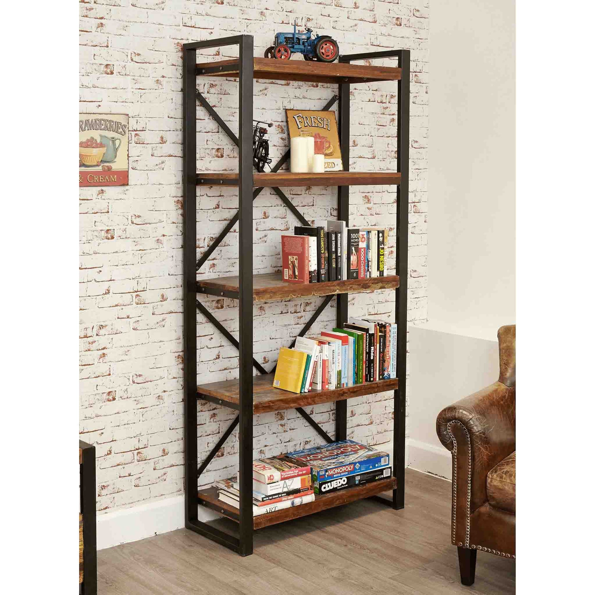 The Urban Chic Large Industrial Reclaimed Wood Bookcase with 5 Shelves from Roseland Furniture