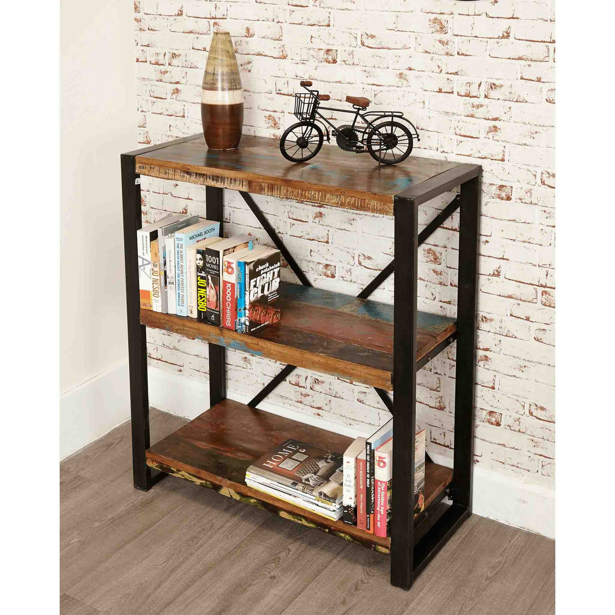 The Urban Chic Industrial Reclaimed Wood Low Bookcase with 3 Shelves from Roseland Furniture