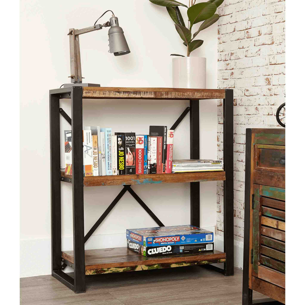 The Urban Chic Industrial Reclaimed Wood Low Bookshelf from Roseland Furniture