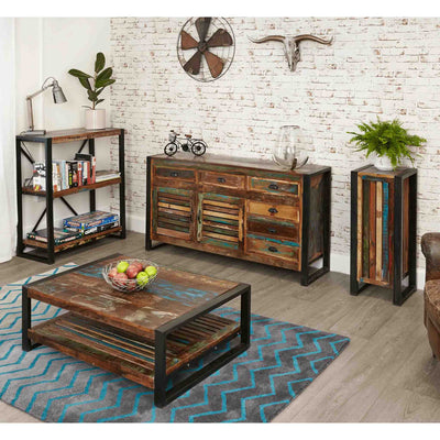Lifestyle image of The Urban Chic Industrial Reclaimed Wood Low Bookcase with 3 Shelves from Roseland Furniture
