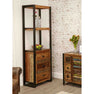 The Urban Chic Industrial Reclaimed Wood Tall Display Unit with Drawers from Roseland Furniture