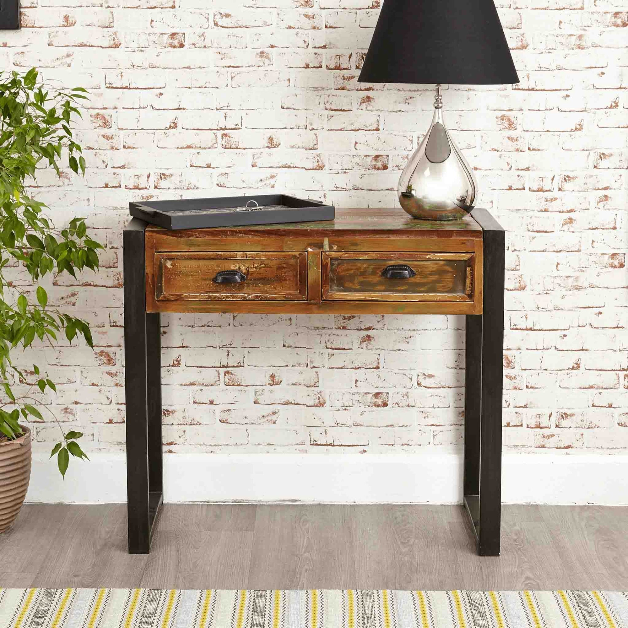 The Urban Chic Industrial Reclaimed Wood Console Table with 2 Drawers from Roseland Furniture