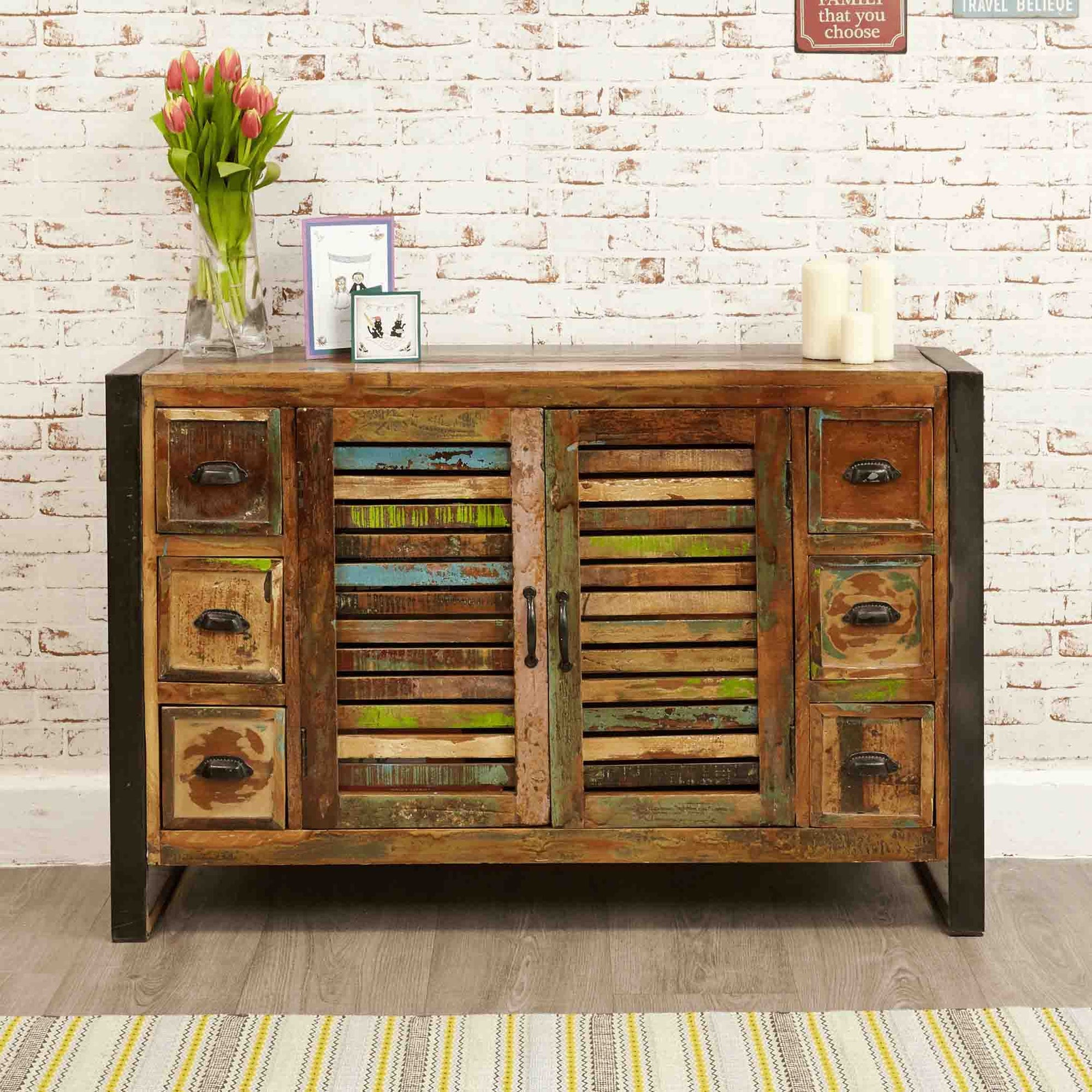 The Urban Chic Industrial Reclaimed Wood Sideboard with 6 Drawers from Roseland Furniture