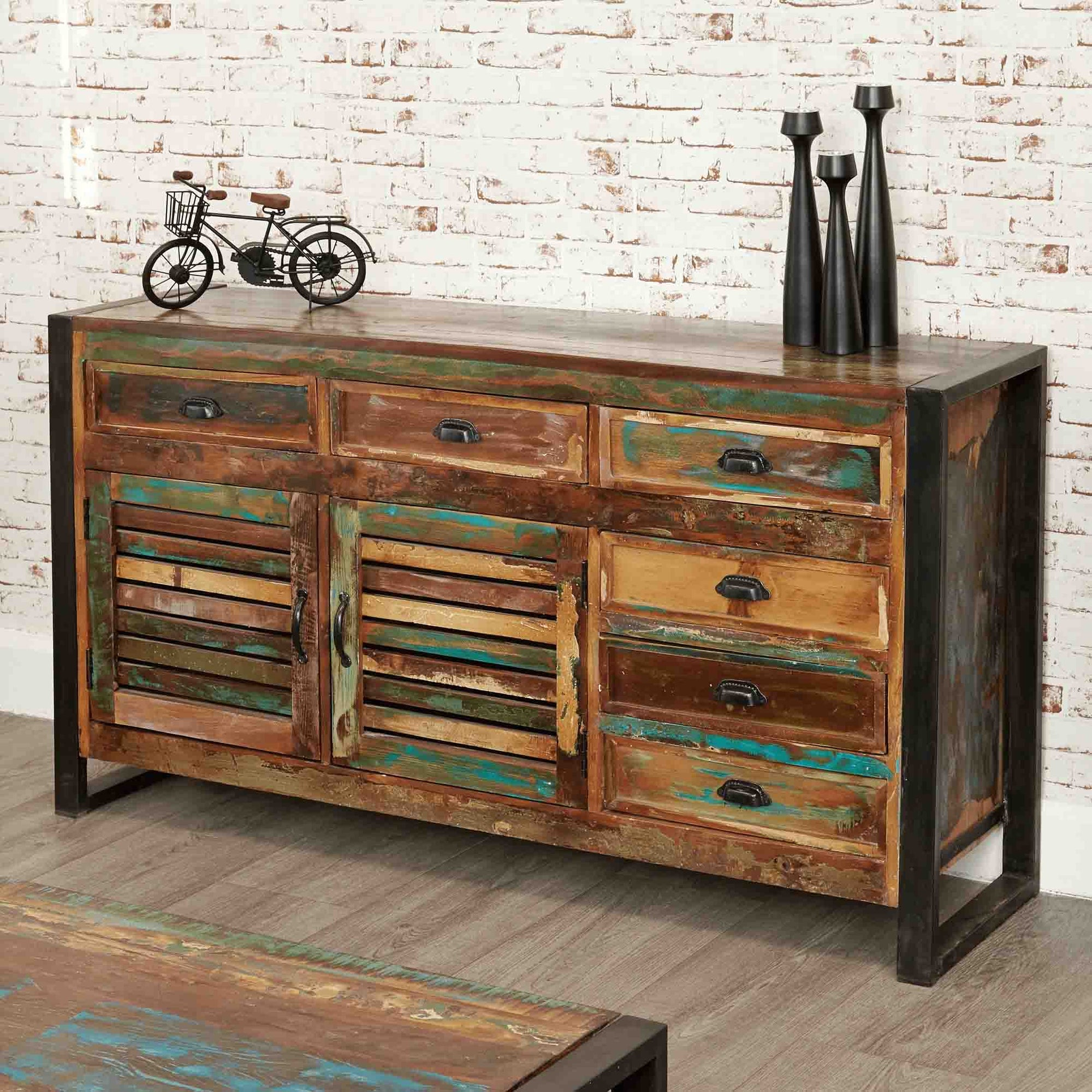 The Urban Chic Industrial Reclaimed Wood Large Sideboard from Roseland Furniture
