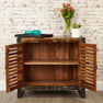 Internal view of The Urban Chic Industrial Reclaimed Wood Small Sideboard