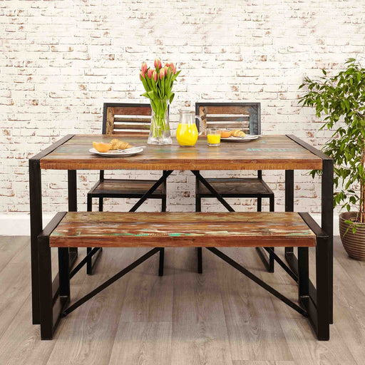 The Urban Chic Industrial Reclaimed Wood Small Dining Bench from Roseland Furniture
