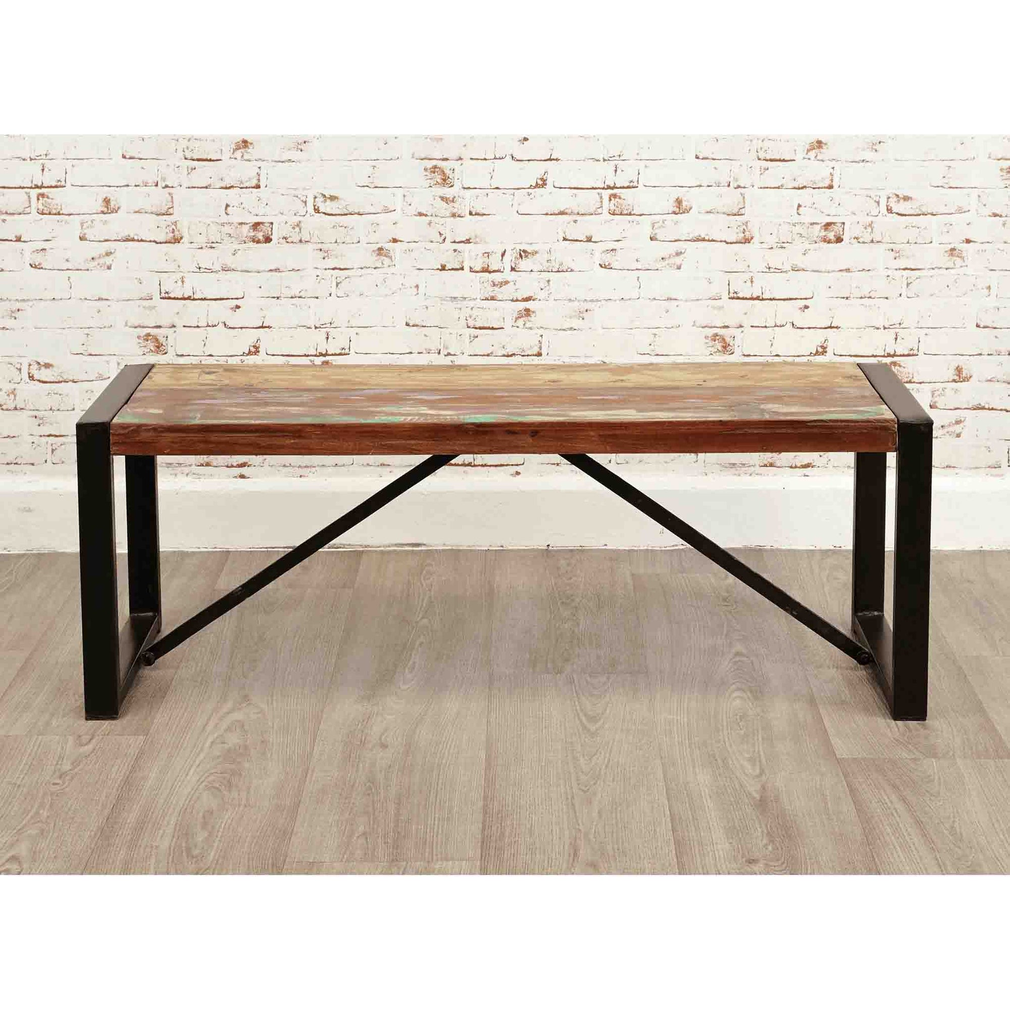 The Urban Chic Industrial Reclaimed Wood Small Dining Bench with Steel Frame from Roseland Furniture