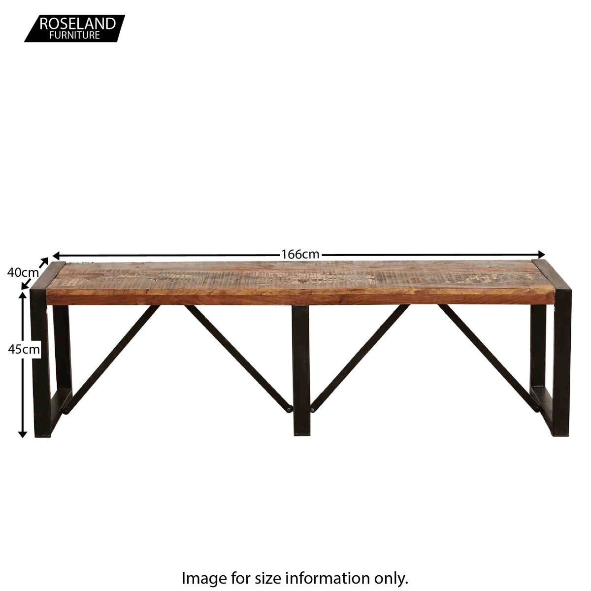 Urban Chic Large Dining Bench - Size Guide