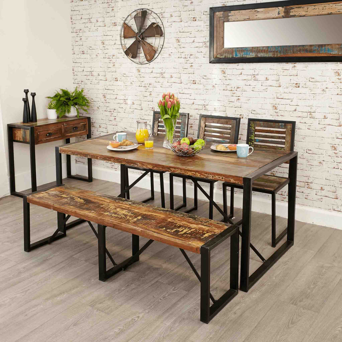 Urban Chic Large Dining Bench - Lifestyle in situ