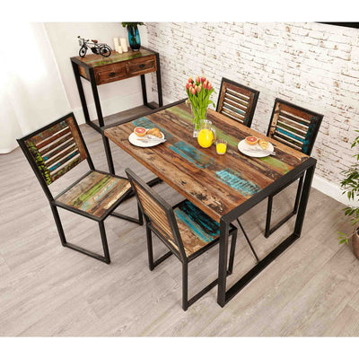 The Urban Chic Industrial Reclaimed Wood Small Dining Table from Roseland Furniture