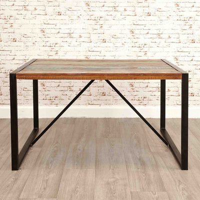 The Urban Chic Industrial Reclaimed Wood Small Dining Table with Steel Frame