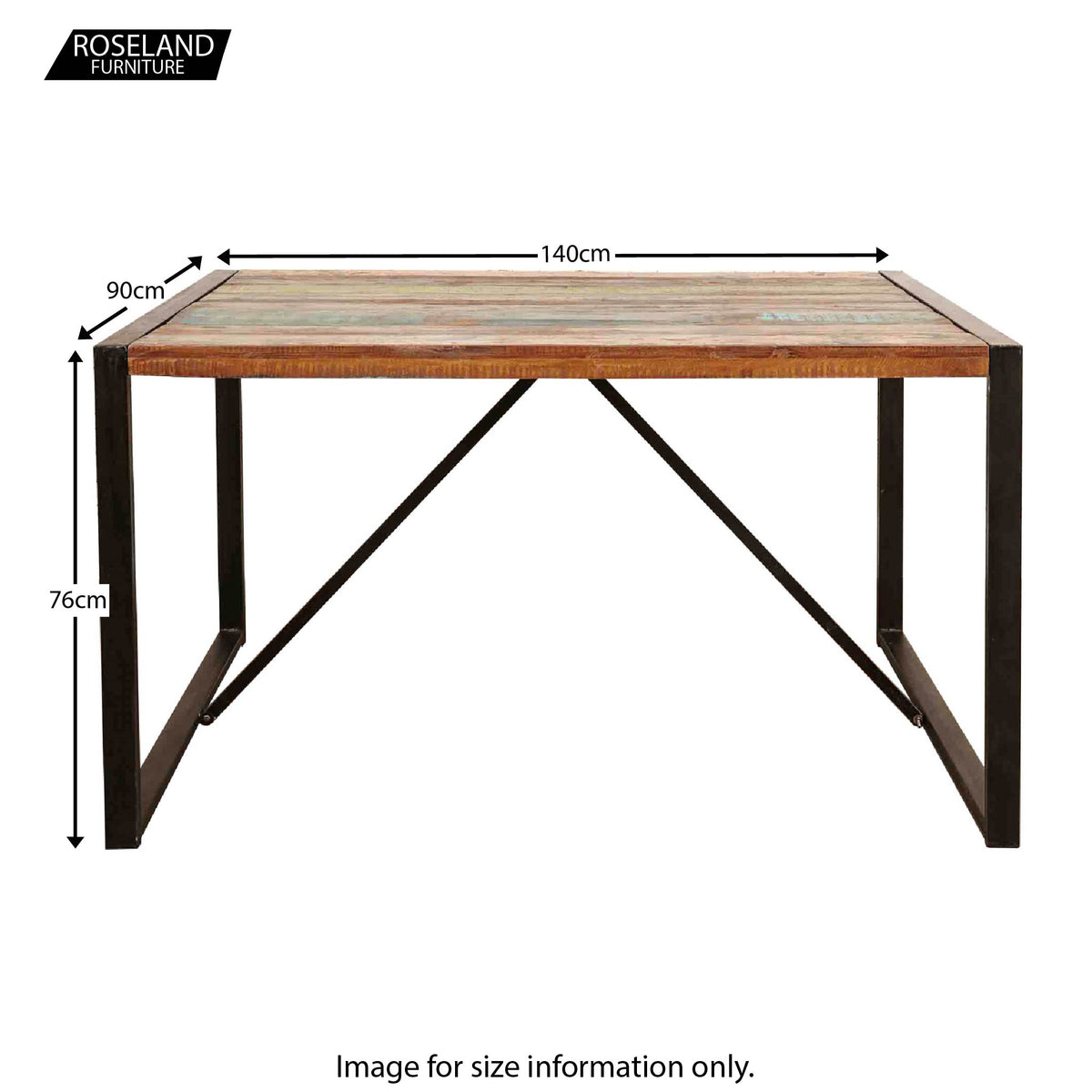 Urban Chic Small Dining Table - Size Guide