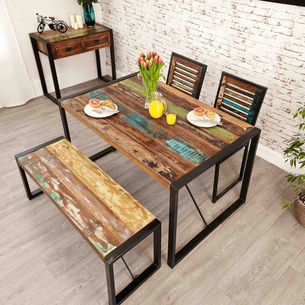 The Urban Chic Industrial Reclaimed Wood Small Kitchen Table from Roseland Furniture