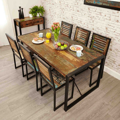 The Urban Chic Large Industrial Reclaimed Wood Dining Table from Roseland Furniture