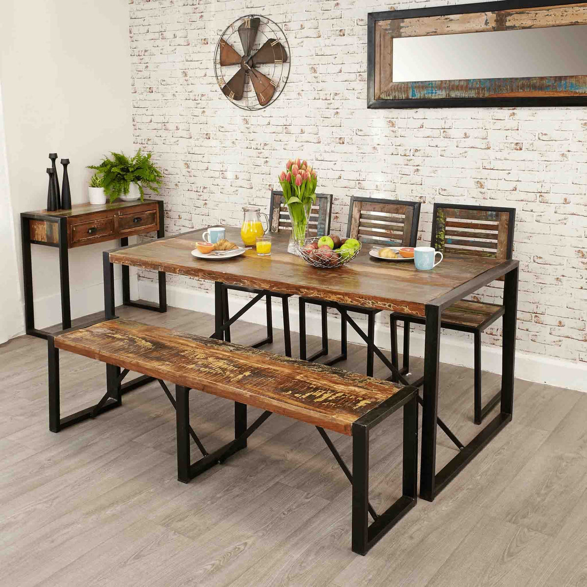 Lifestyle image of The Urban Chic Large Industrial Reclaimed Wood Dining Table