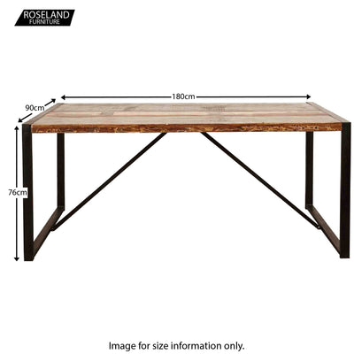Urban Chic Large Dining Table - Size Guide