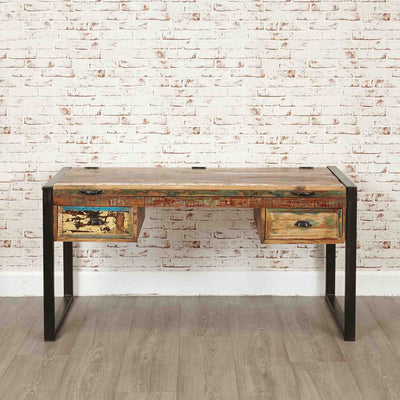 The Urban Chic Industrial Reclaimed Wood Large Computer Desk with Steel Frame from Roseland Furniture