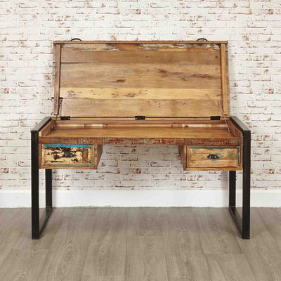 The Urban Chic Industrial Reclaimed Wood Large Laptop Desk from Roseland Furniture