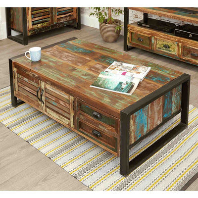 The Urban Chic Industrial Reclaimed Wood Large Coffee Table with Storage from Roseland Furniture